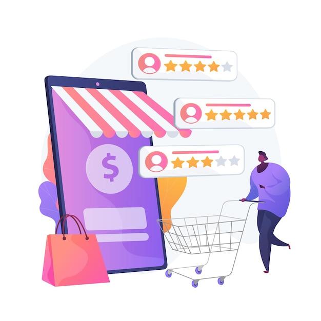 Gebruikersbeoordeling en feedback. klantbeoordelingen cartoon web pictogram. e-commerce, online winkelen, internet kopen. vertrouwensstatistieken, best beoordeeld product. vector geïsoleerde concept metafoor illustratie Gratis Vector