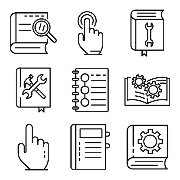 Gebruikersgids geplaatste pictogrammen, schetst stijl Premium Vector