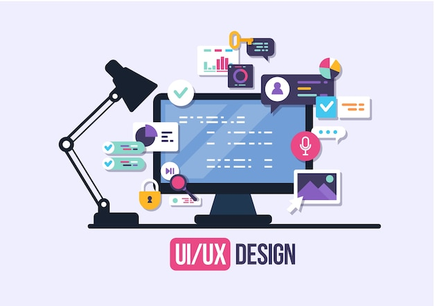 Gebruikersinterface, applicatie-ontwikkeling en gebruikersinterface, ux. creatieve illustratie. Premium Vector