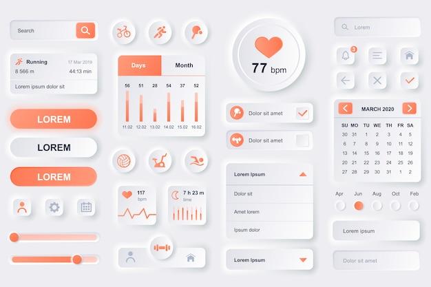 Gebruikersinterface-elementen voor fitness workout mobiele app. fitness tracker, sportactiviteitenplanner, hartslagmeter gui-sjablonen. unieke neumorfe ui ux-ontwerpkit. beheer en navigatie componenten. Premium Vector