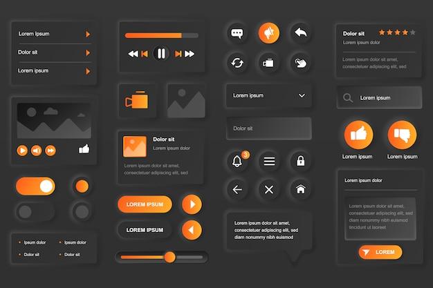 Gebruikersinterface-elementen voor video tube mobiele app. live streaming service, multimedia-inhoud, videospeler gui-sjablonen. unieke neumorfe ui ux-ontwerpkit. beheer en navigatie formulier en componenten Premium Vector