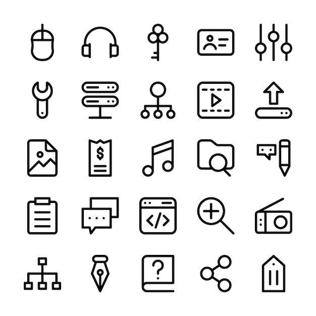 Gebruikersinterface lijn pictogrammen Premium Vector