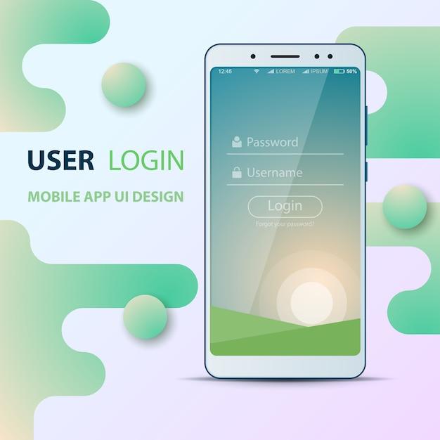 Gebruikersinterfaceontwerp. smartphone-pictogram. inloggen en wachtwoord. Premium Vector