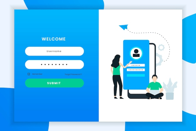 Gebruikerslogin illustratie met twee mensen karakter Premium Vector