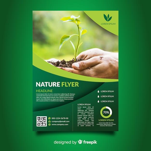 Gecombineerde natuur flyer sjabloon Gratis Vector