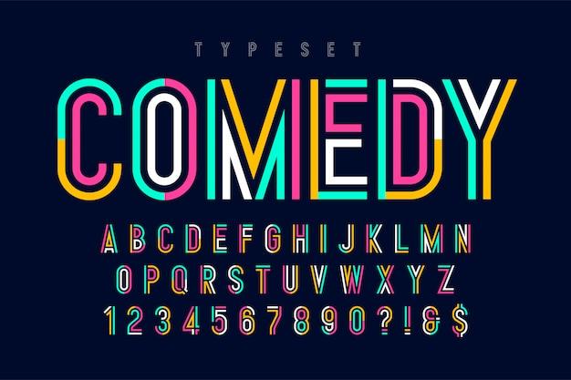Gecondenseerd kleurrijk lettertypeontwerp, alfabet en cijfers. Premium Vector