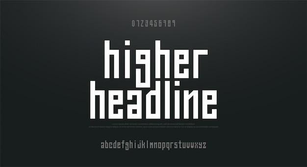 Gecondenseerde hoge, lange eenvoudige lettertype alfabet lettertype Premium Vector