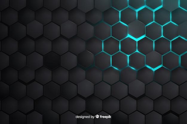 Gedeeltelijk verlichte honingraatachtergrond Gratis Vector