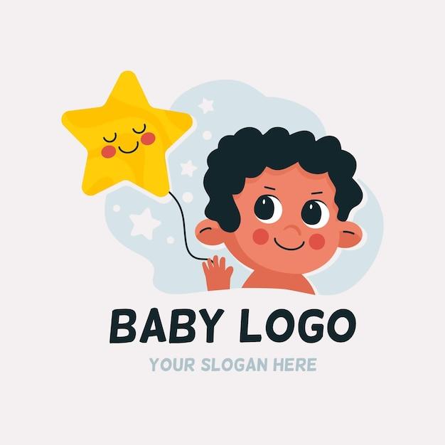 Gedetailleerd babylogo Premium Vector