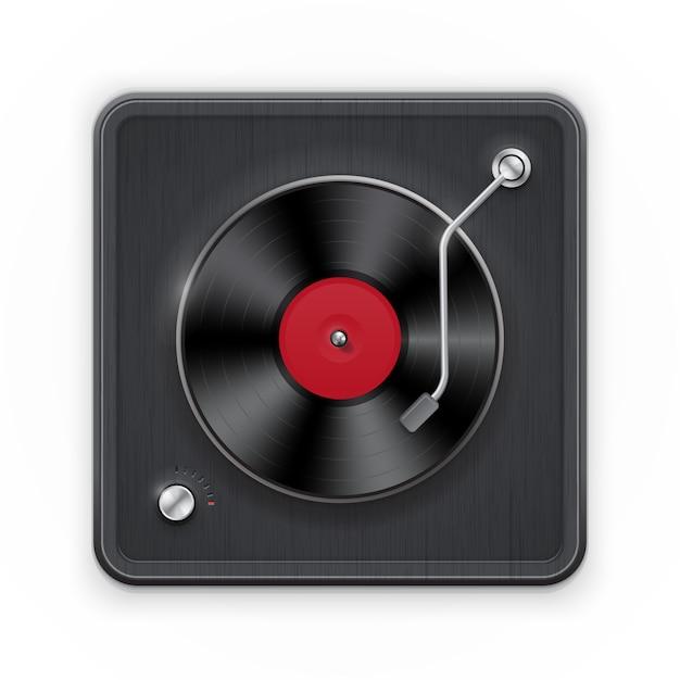 Gedetailleerd pictogram van de retro vinil platenspeler met donker geval Premium Vector
