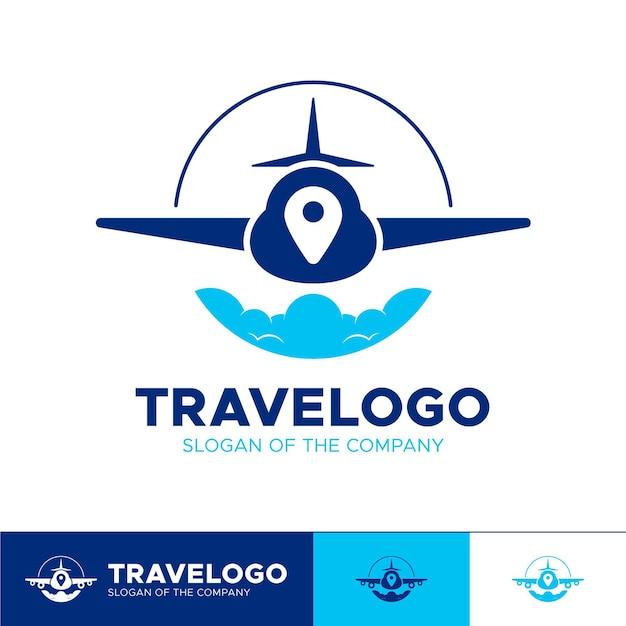 Gedetailleerd reislogo met vliegtuig Premium Vector