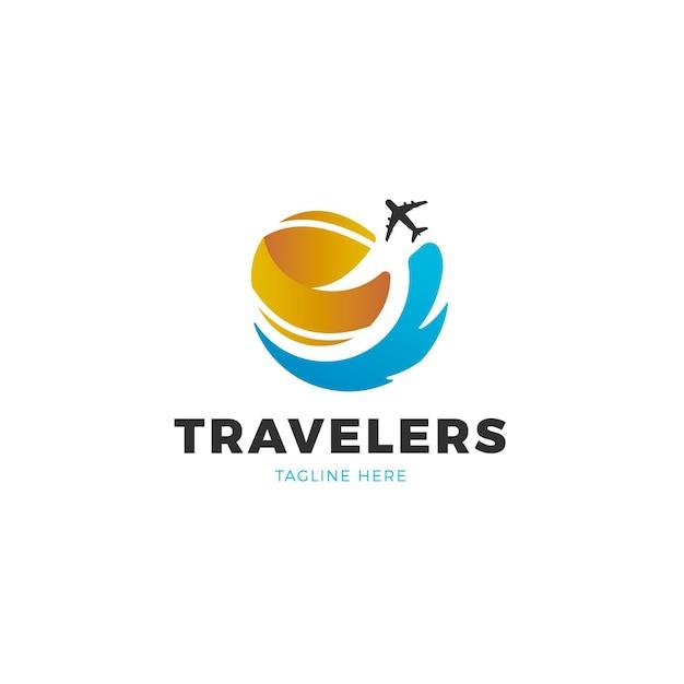 Gedetailleerd reislogo Gratis Vector