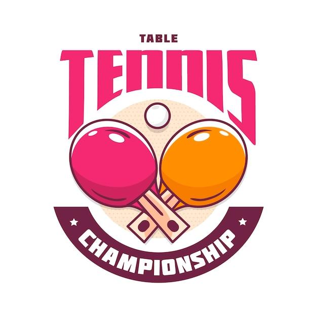 Gedetailleerd tafeltennis logo concept Gratis Vector