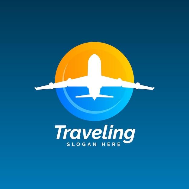 Gedetailleerd thema van het reislogo Gratis Vector