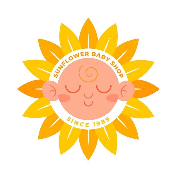 Gedetailleerd zonnebloem babywinkellogo Premium Vector