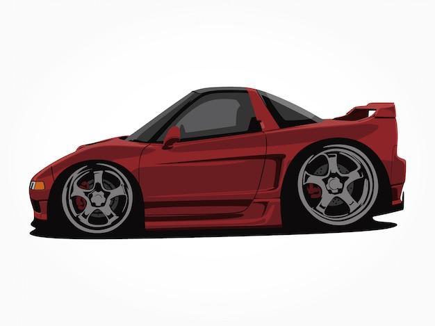 Gedetailleerde auto cartoon vector illustratie kunst Premium Vector