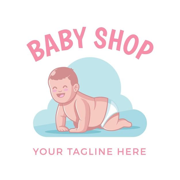 Gedetailleerde baby logo sjabloon Premium Vector