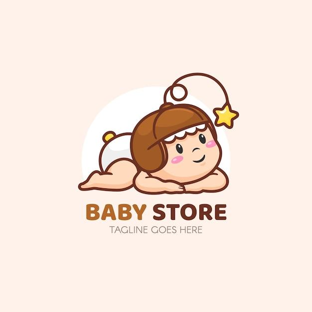 Gedetailleerde baby logo sjabloon Gratis Vector