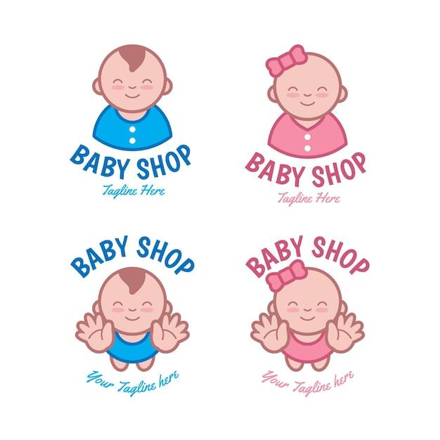Gedetailleerde babyset logo sjablonen Gratis Vector