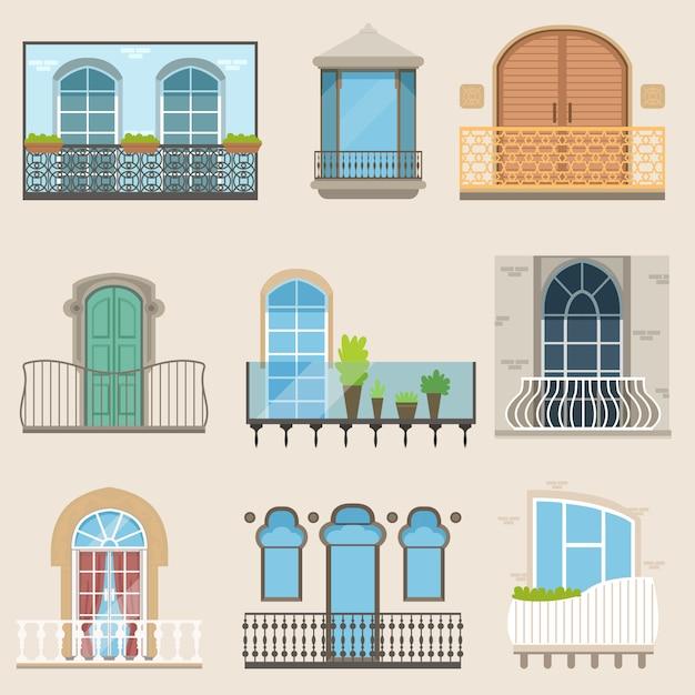 Gedetailleerde balkonset in verschillende stijlen. klassieke, moderne en decoratieve gesmede balkons. Premium Vector