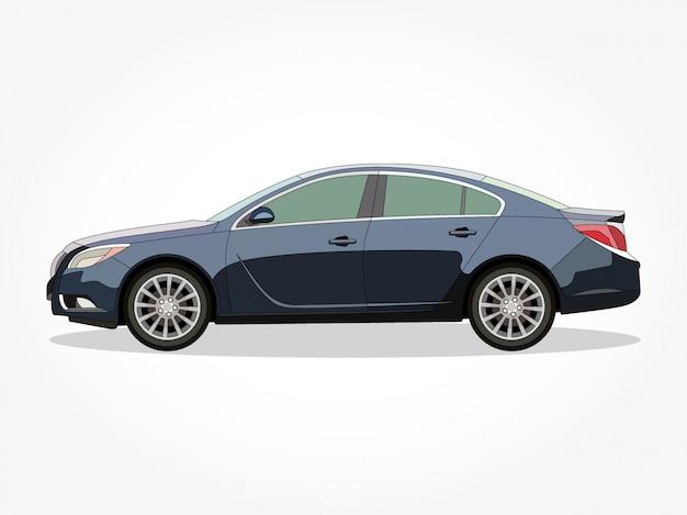 Gedetailleerde body en velgen van een platte gekleurde auto cartoon vector illustratie met zwarte lijn en schaduweffect Premium Vector