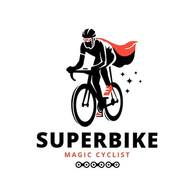Gedetailleerde fiets logo sjabloon wielrenner Gratis Vector
