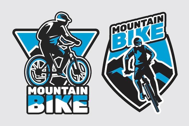 Gedetailleerde fietser fiets logo sjabloon Gratis Vector