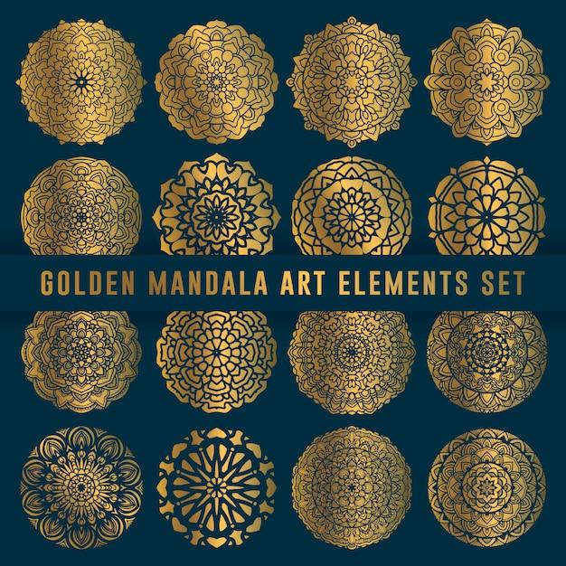Gedetailleerde gouden mandala kunst set-element Premium Vector