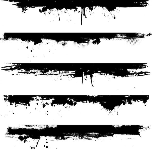 Gedetailleerde grunge elementen ideaal voor gebruik als grenzen Gratis Vector