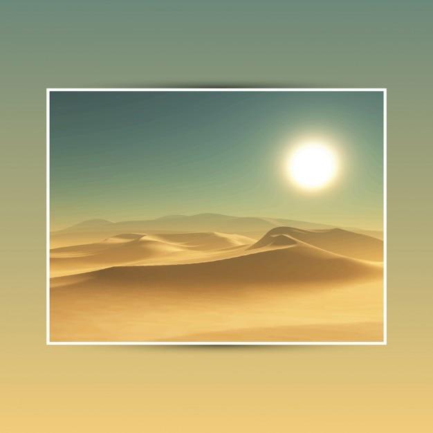Gedetailleerde illustratie van een woestijn achtergrond Gratis Vector