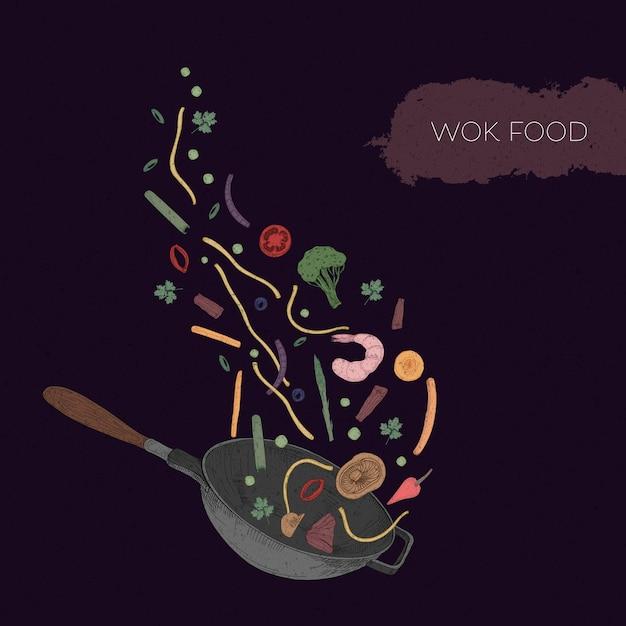 Gedetailleerde kleurrijke illustratie van wok en zeevruchten, groenten, champignons, noedels, kruiden die eruit worden gegooid. Premium Vector