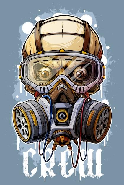 Gedetailleerde kleurrijke menselijke schedel met gasmasker Premium Vector
