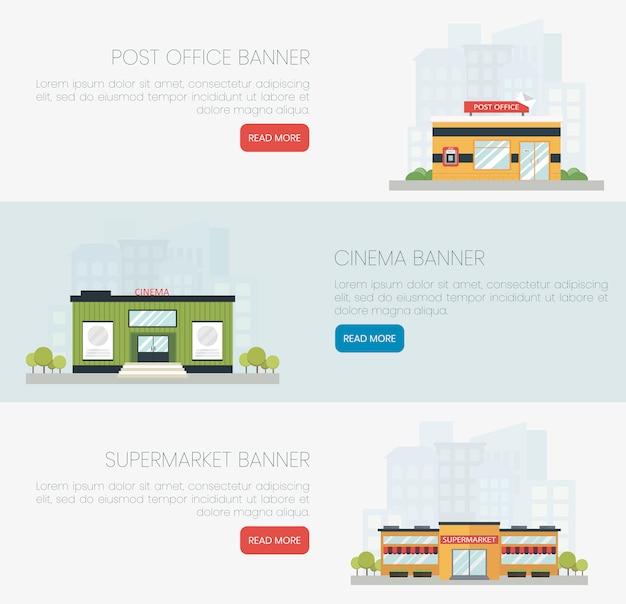 Gedetailleerde kleurrijke platte gebouwen van postkantoor, bioscoop en supermarkt. Premium Vector