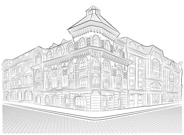 Tekeningen Van Gebouwen.Gedetailleerde Oude Gebouwen Straat Hoek Vector Tekening