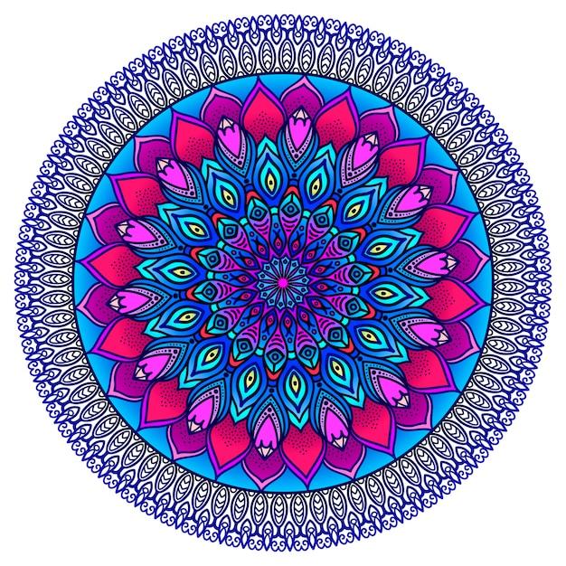Gedetailleerde siermandala in paars en blauw. etnische versiering. Premium Vector
