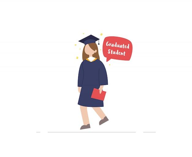 Gediplomeerde student met diplomaillustratie Premium Vector