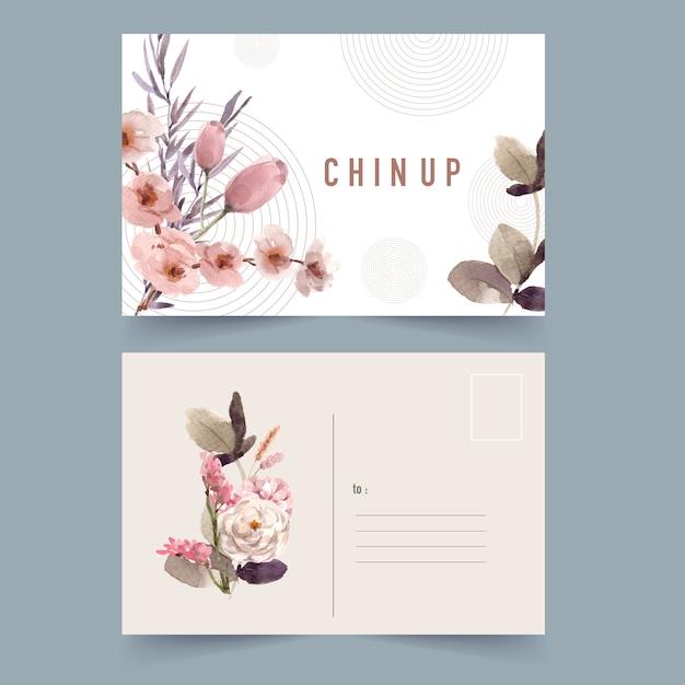 Gedroogde bloemen briefkaart aquarel illustratie. Gratis Vector
