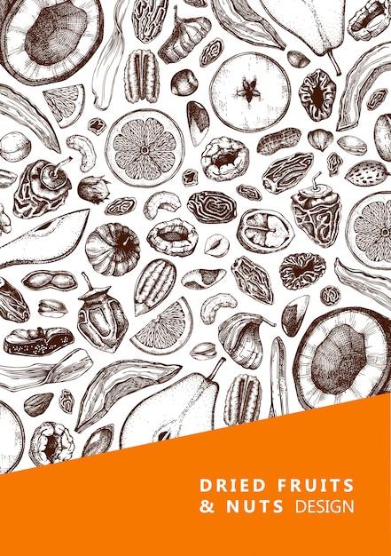 Gedroogde vruchten en noten flyer. hand getrokken gedroogde vruchten schetsen. vintage noten illustraties. voor veganistisch eten, snacks, gezond ontbijt, muesli, bakken, desserts. gegraveerde kaartsjabloon Premium Vector
