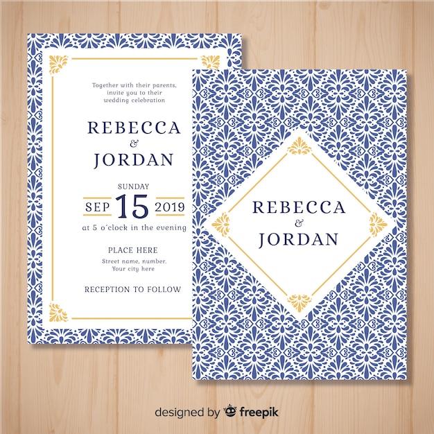 Gedrukte bruiloft uitnodiging sjabloon Gratis Vector