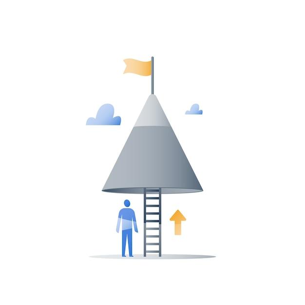 Geef nooit het concept op, bergtop, bereik een hoger doel, voltooi uitdaging, volgende stap, lange weg naar succes, positief denken, groeimindset, obstakel overwinnen, gestage vooruitgang Premium Vector