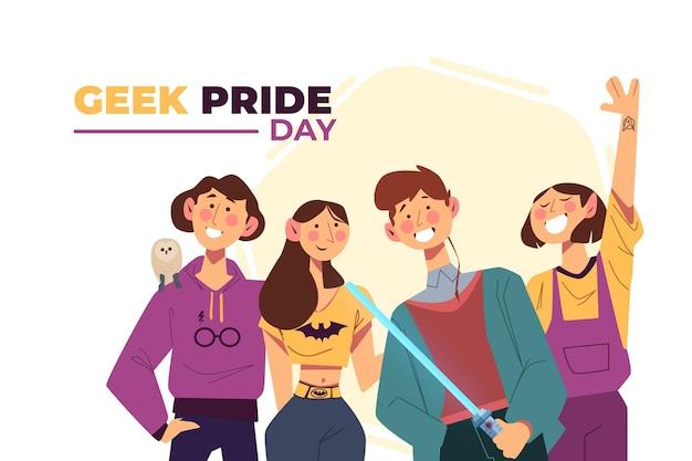 Geek pride day mannen en vrouwen Gratis Vector
