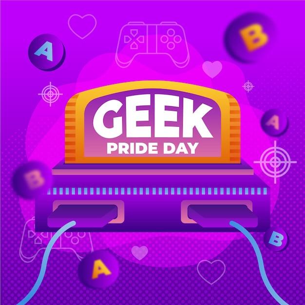 Geek pride day retro videogameconsole Gratis Vector