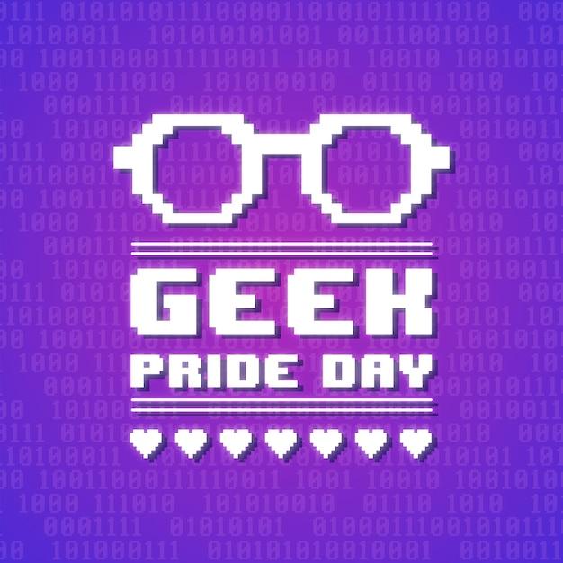 Geek trots dag concept Gratis Vector