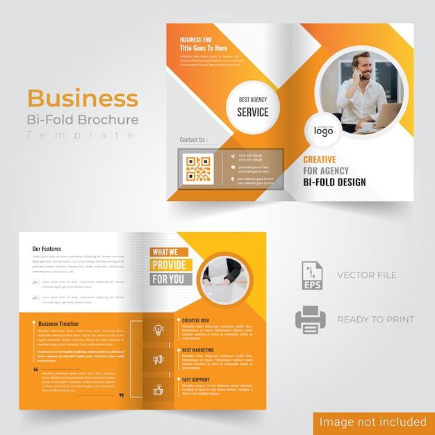 Geel bi-vouw brochureontwerp Premium Vector