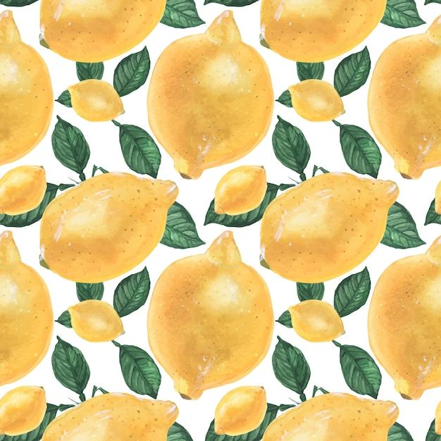 Geel citroen naadloos patroon Premium Vector