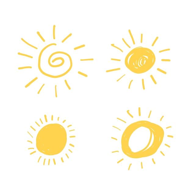 Geel doodle zon Gratis Vector
