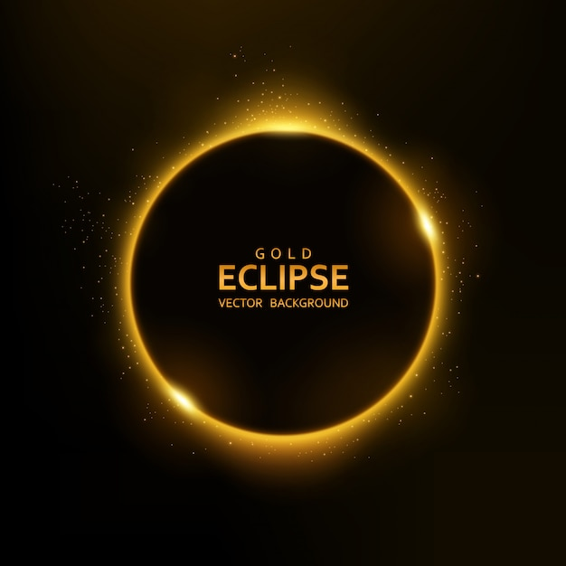 Geel eclipslicht met fonkelingen Premium Vector