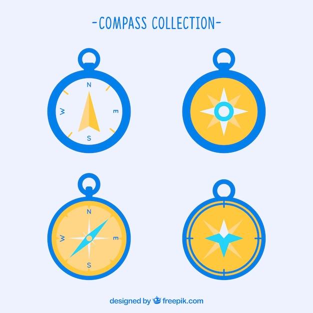 Geel en blauw kompaspak Gratis Vector