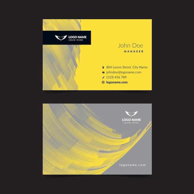 Geel en grijs abstract visitekaartje Gratis Vector