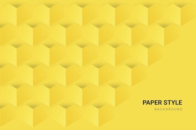 Geel en grijs in papierstijlbehang Premium Vector